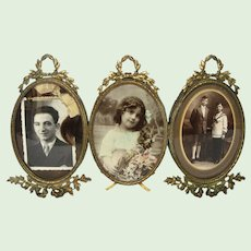 French Bronze Ormolu Frame Set for Three Photos