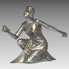 Art Deco French Spelter Statue Figural - Grape Harvest