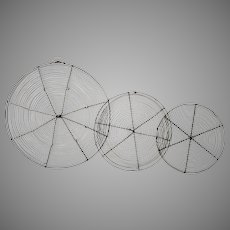 Three Vintage French Wire Cooling Trays - Round Wireware Trivets