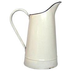 Vintage White Enamel Graniteware Pitcher from France