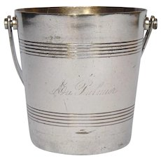Vintage Silver Plate Ice Bucket from French Restaurant - Au Palmiers
