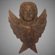 French Antique Cast Iron Angel / Cherub / Putto Figural Sculpture
