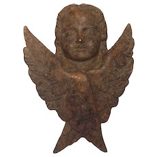 French Antique Cast Iron Angel / Cherub / Putto Figural Sculpture