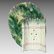 French Majolica Asparagus Cradle and Platter -early 1900s