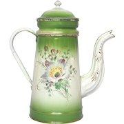 Green Shaded Floral Enamel French Graniteware Drip Coffee Pot - Near Mint