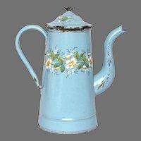 Antique French Floral Enamel Graniteware Coffee Pot