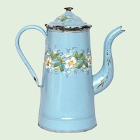 Antique French Floral Enamel Graniteware Coffee Pot