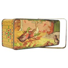 Mid-Century French Toleware Child's Tin Box with Swivel Handle