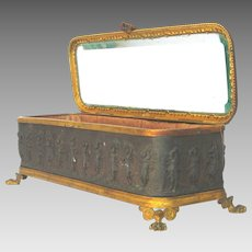 French Brass Repousse Jewelry Box - Memento Casket - Souvenir Box