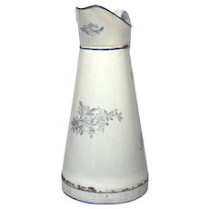 REDUCED - Early Japy Graniteware Body Pitcher with Blue Floral Transfers