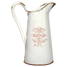Early 1900s French Enamelware Transfer Design Pitcher - Graniteware Water Jug