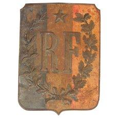 Vintage French Flag Tin Shield - Escutcheon Plate