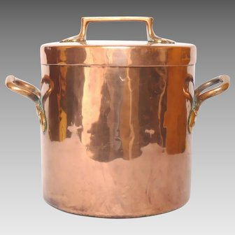 Antique French Copper Stock Pot with Lid