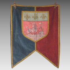 French Parisian Fabric Banner - Municipal Flag - Heraldic Coat of Arms