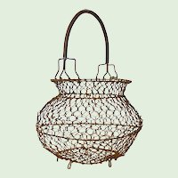 French Chicken Wire Gathering Basket - Wire Egg Basket - Chickenwire