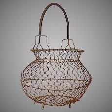 French Chicken Wire Gathering Basket - Wire Egg Basket - Chickenwire