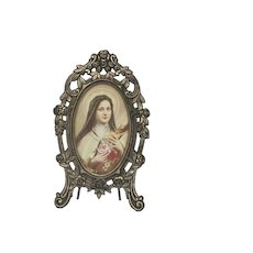 Small Vintage French Ornamented Metal Picture Frame / Standing Photo Frame