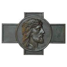 Signed Bronze Christ Medallion - Religious Cross Plaque - Jesus Profile - from France