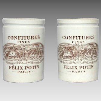 PAIR of French Jelly Jars - Preserves Pot - Jam Crock - Felix Potin