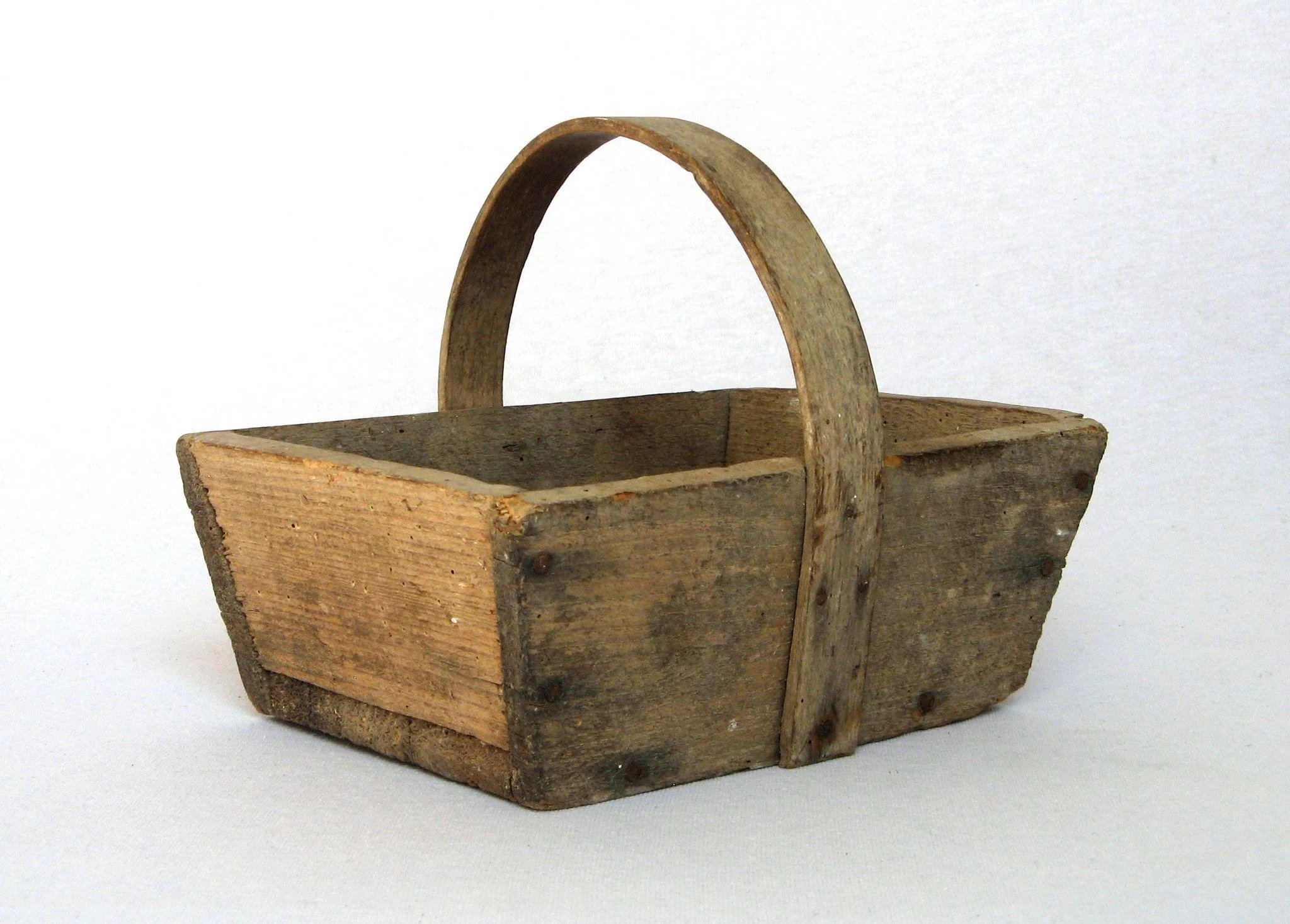 PETITE French Wooden Garden Trug - Harvest Basket -Rare Small Size ...