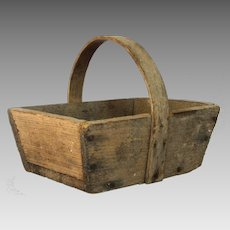PETITE French Wooden Garden Trug - Harvest Basket -Rare Small Size