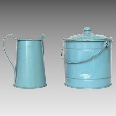 French Toleware Tin Toy Bucket and Pitcher Set
