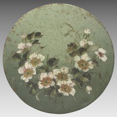 French Still Life Floral Shabby-Chic Painting - Wild Roses on Round Metal Platter