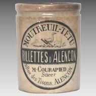 Antique French Ceramic Crock - Earthenware Rillettes Jar - Clay Preserve Pot