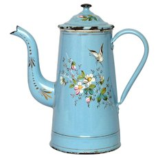 Hand Painted Floral French Enamel Coffee Pot with Butterfly Decor