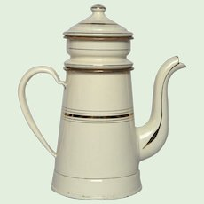 NEAR MINT French Graniteware Drip Coffee Pot - Enamelware Biggin from France