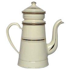 NEAR MINT French Graniteware Drip Coffee Pot - Enamelware Biggin from France
