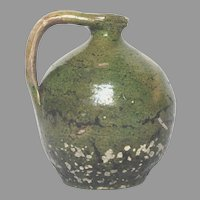 Antique Small French Green Glaze Terracotta Jug - Clay Pitcher