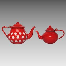 Adorably Petite Pair of French Enamelware Teapots
