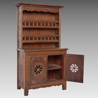 Miniature Breton  Toy Hutch - Vaisselier - Buffet from Brittany France