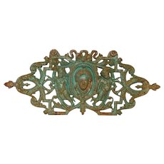 Early 1900s French Cast Iron Figural Medallion