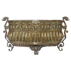 Early 1900s French Pressed Brass Embossed Repousse Jardiniere / Planter / Flower Pot