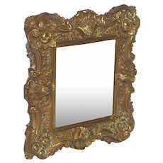 Ornate Press Brass Repousse Frame and Mirror from France