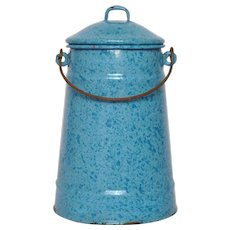 Pretty Blue Enameled French Milk Pot - Vintage Graniteware Milk Carrier