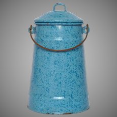 Pretty Blue Enameled French Milk Pot - Vintage Graniteware Milk Carrier
