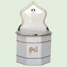 Uncommon Faceted French Graniteware Salt Box - Enamel Salt Keep