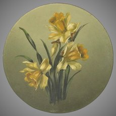 French Still Life Floral Bouquet Painting - Yellow Daffodils on Round Metal Platter