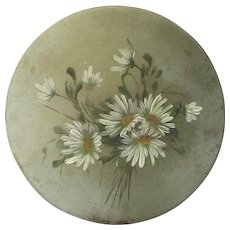 French Still Life Floral Bouquet Painting - A Dish of Daisies - Painted Metal Platter
