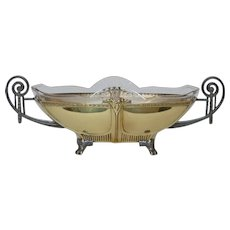 French 1910s-1920s Art Nouveau - Art Deco jardiniere / table center piece, with clear glass insert