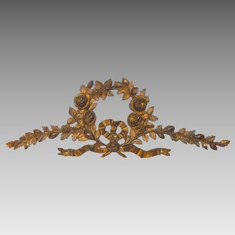 Antique Bronze Floral Furniture Ornament from France