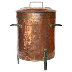 ENORMOUS Antique Copper Pot - with Iron Feet - Hot Water Vat