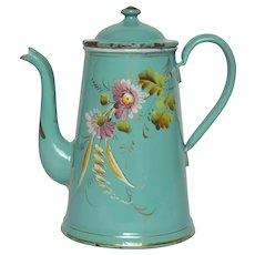 Stunning Antique French Hand-painted Floral Graniteware Coffee Pot - Enamelware Coffeepot