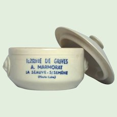 ON SALE Earthenware French Crock for Pate - Terrine Made from Thrush Birds