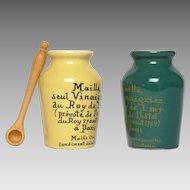 Pair of Vintage French Ceramic Mustard Crocks - Glazed MAILLE Mustard Jars