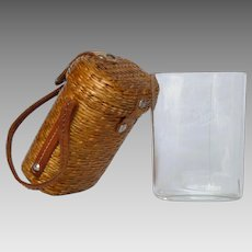 French Medicinal Spa Water - Curist Glass in Wicker Carry Case - Aix en Provence Goblet