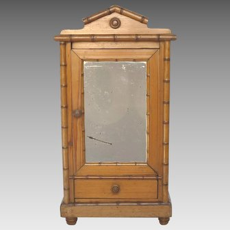 Antique French Miniature Faux Bamboo Armoire for Doll